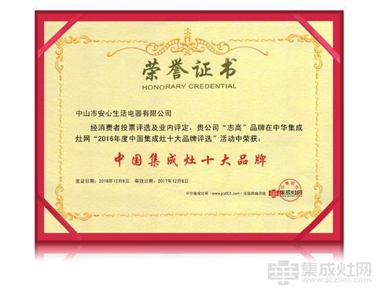 恭贺志高荣膺2016年度中国集成灶十大品牌