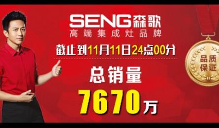 7670万 森歌集成灶双十一销售再创新高